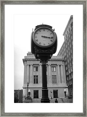 Liberty Mutual Clock Framed Print by Kelly Hazel