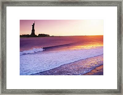 Liberty Surf Framed Print by Sean Davey