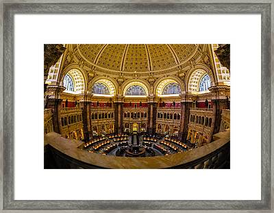Library Of Congress Main Reading Room Framed Print by Susan Candelario