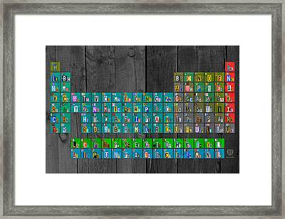 License Plate Art Recycled Periodic Table Of The Elements By Design Turnpike Framed Print by Design Turnpike