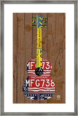 License Plate Guitar Michigan Edition 3 Vintage Recycled Metal Art On Wood Framed Print by Design Turnpike