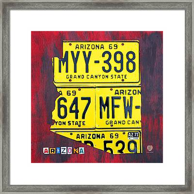 License Plate Map Of Arizona By Design Turnpike Framed Print by Design Turnpike