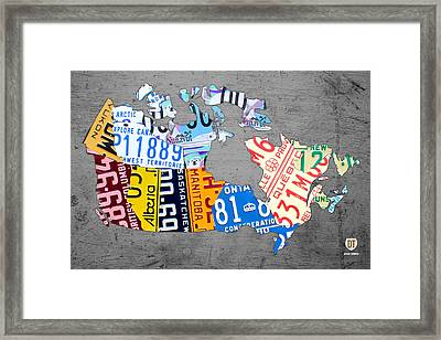 License Plate Map Of Canada On Gray Framed Print by Design Turnpike