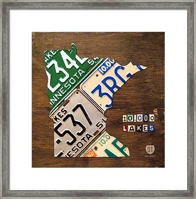 License Plate Map Of Minnesota By Design Turnpike Framed Print by Design Turnpike