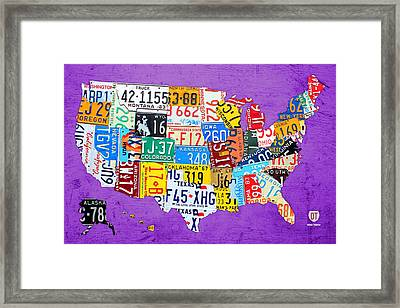 License Plate Map Of The United States On Vibrant Purple Slab Framed Print by Design Turnpike