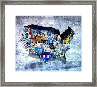 License Plates Of The Usa  Framed Print by Brian Reaves