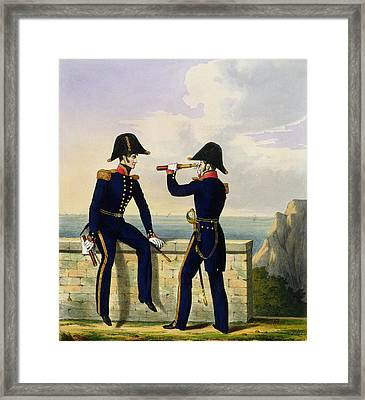 Lieutenants, Plate 1 From Costume Framed Print by L. and Eschauzier, St. Mansion