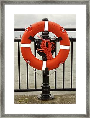 Life Belt On Quayside Framed Print by Cordelia Molloy