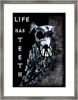 Life Has Teeth Framed Print by Angie Phillips aka  Angieclementine