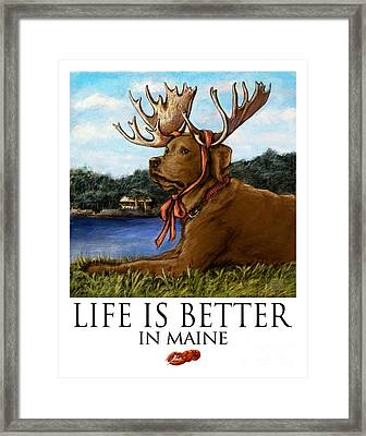 Life Is Better In Maine Chocolate Lab Framed Print by Kathleen Harte Gilsenan