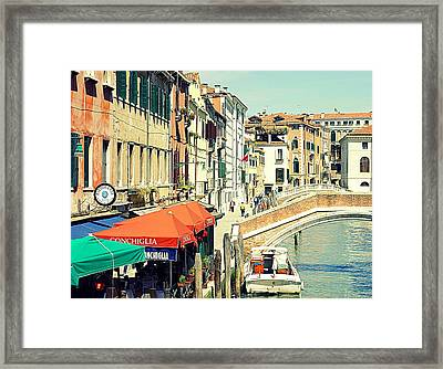 Life On The Canal Framed Print by Valentino Visentini