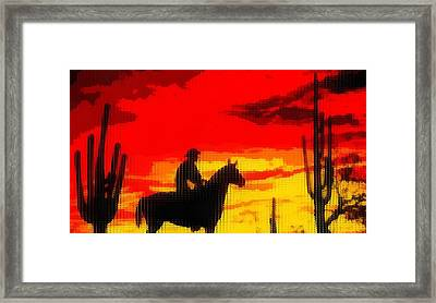 Life Out West Cowboy At Sunset Framed Print by Dan Sproul