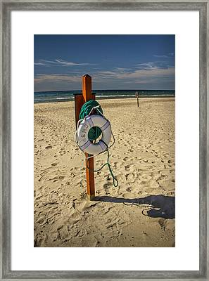Life Preserver On The Beach In Pentwater Michigan Framed Print by Randall Nyhof