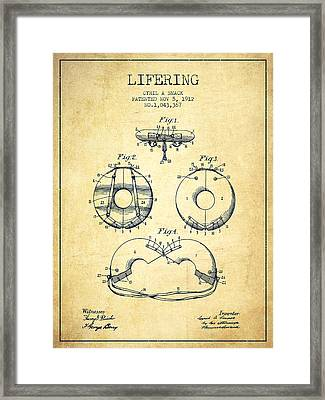 Life Ring Patent From 1912 - Vintage Framed Print by Aged Pixel