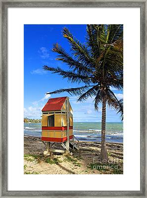 Lifeguard Hut On A Beach Framed Print by George Oze