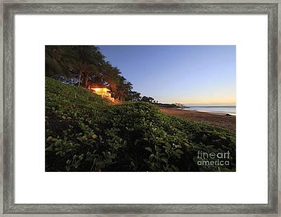 Lifeguard Shack Kamaole IIi Beach South Maui Kihei Hawaii Framed Print by Edward Fielding
