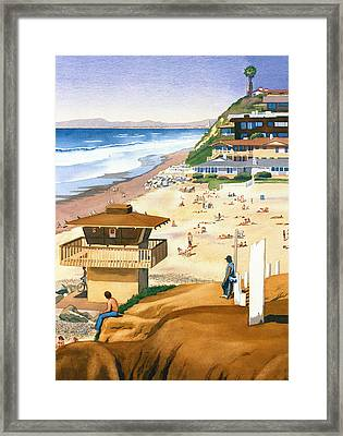 Lifeguard Station At Moonlight Beach Framed Print by Mary Helmreich