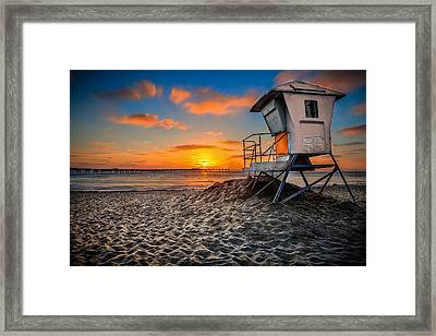 Lifeguard Sunset Framed Print by Robbie Snider