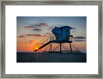 Lifeguard Tower At Sunset Framed Print by Peter Tellone