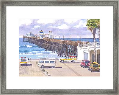 Lifeguard Trucks At Oceanside Pier Framed Print by Mary Helmreich