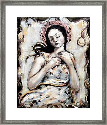 Light And Flower Angel Framed Print by Carrie Joy Byrnes
