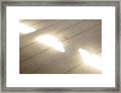 Light Beams On Covered Bridge Floor Framed Print by Claudia Smaletz