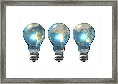 Light Bulb World Globe Series Framed Print by Allan Swart