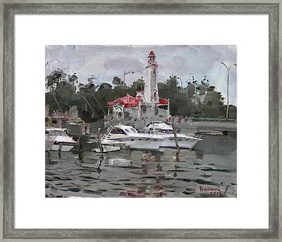 Light House In Mississauga On Framed Print by Ylli Haruni