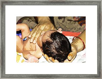Light Massage Of Neck Of A 5 Day Old Indian Baby Framed Print by Ashish Agarwal