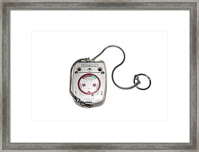 Light Meter On White Background Framed Print by Photostock-israel