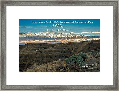 Light Of The Lord Framed Print by Robert Bales
