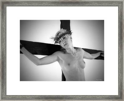 Light Portrait Of A Female Christ Framed Print by Ramon Martinez