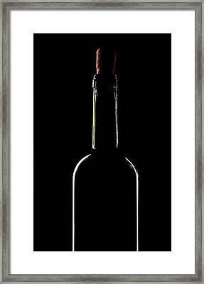 Light Silhouette Of Wine Bottle Framed Print by Roman Popov