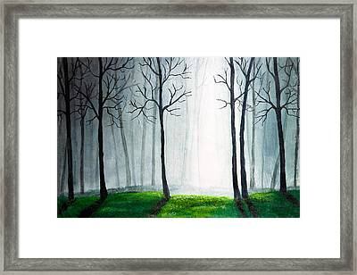 Light Through The Forest Framed Print by Nirdesha Munasinghe