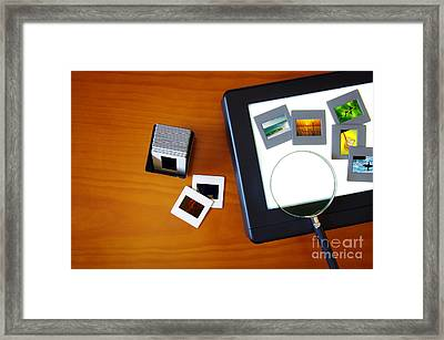 Lightbox With Slides Framed Print by Carlos Caetano