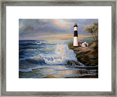 Big Sable Point Lighthouse With Crashing Waves  Framed Print by Regina Femrite