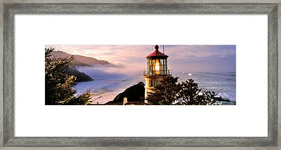 Lighthouse At A Coast, Heceta Head Framed Print by Panoramic Images