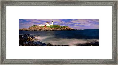 Lighthouse At A Coast, Nubble Framed Print by Panoramic Images