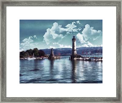 Lighthouse At Lindau Framed Print by Georgiana Romanovna