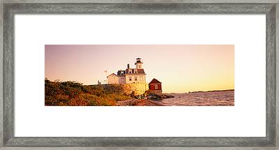 Lighthouse At The Coast, Rose Island Framed Print by Panoramic Images