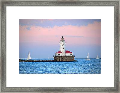Lighthouse At The Navy Pier Framed Print by Lynn Bauer