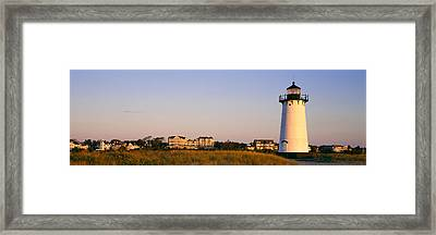 Lighthouse In A Town, Edgartown Framed Print by Panoramic Images