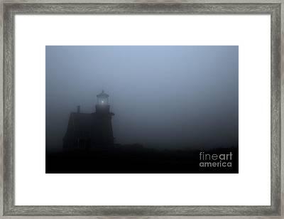 Lighthouse In Fog Framed Print by Diane Diederich
