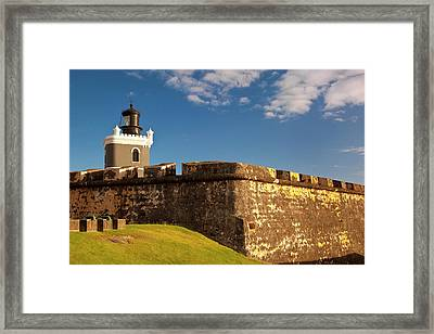 Lighthouse In Historic El Morro Fort Framed Print by Brian Jannsen