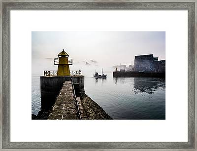 Lighthouse In Reykjavik Harbor, Harpa Framed Print by Panoramic Images