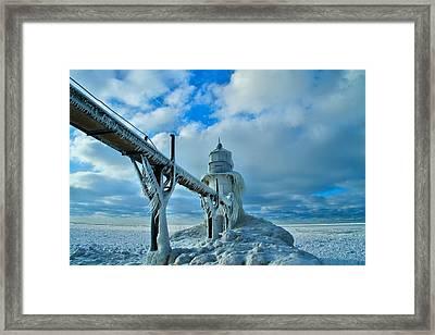 Lighthouse In Saint Joseph Michigan Framed Print by Dan Sproul