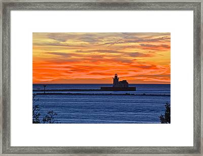 Lighthouse In Silhouette Framed Print by Frozen in Time Fine Art Photography
