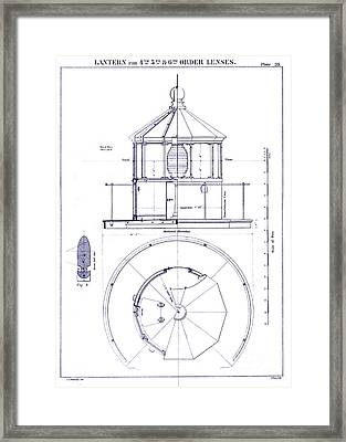 Lighthouse Lantern Lense Order Blueprint Framed Print by Jon Neidert
