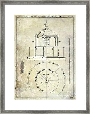 Lighthouse Lantern Order Blueprint Antique Framed Print by Jon Neidert