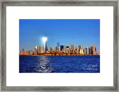 Lighthouse Manhattan Framed Print by Olivier Le Queinec